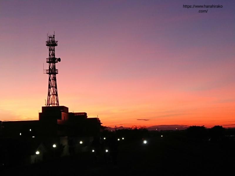 荒川土手から見た夕焼け