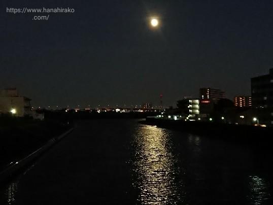 荒川土手に上る月
