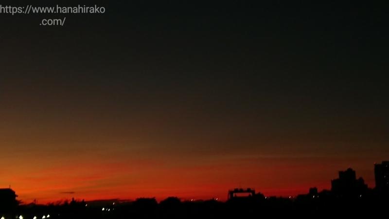 荒川土手から見た夕焼けの空