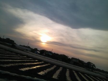 振り返ったら夕陽