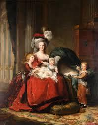 赤いドレスのマリーアントワネットと子供達。