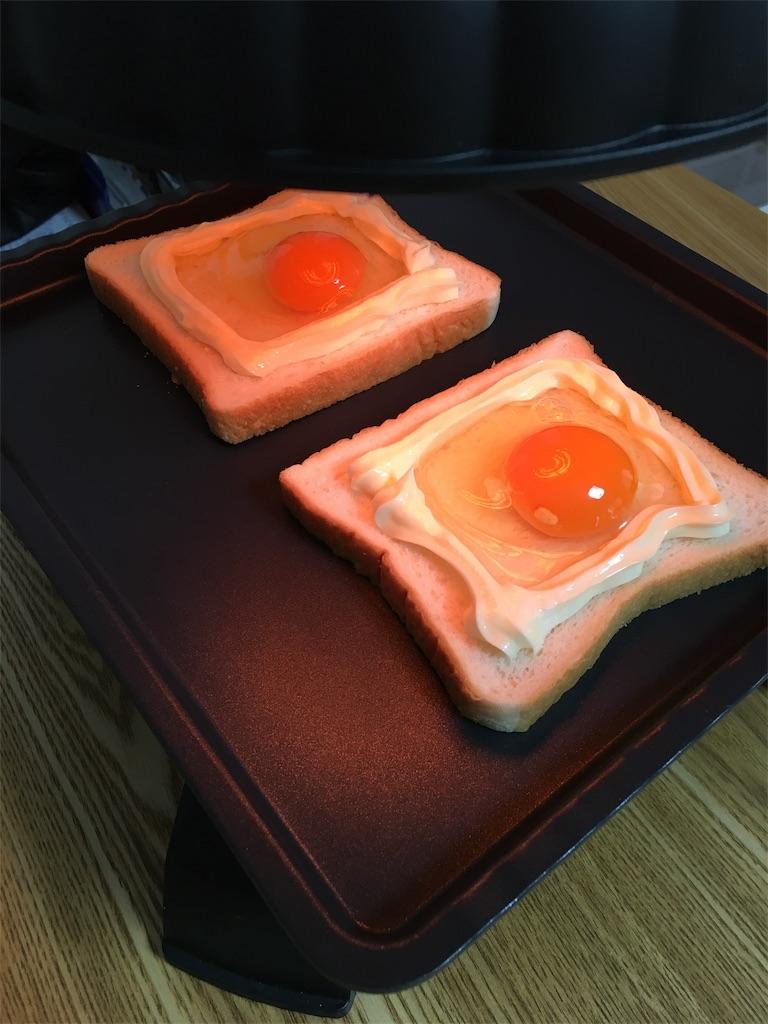 ザイグルボーイでトースト(方目玉焼きパン)