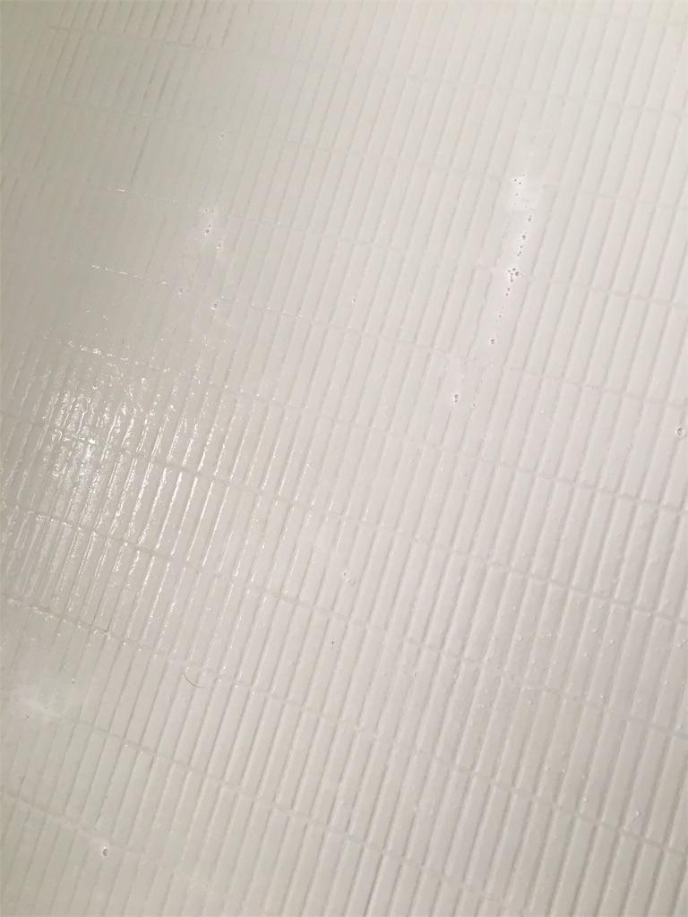 オキシクリーンで掃除中のお風呂の床