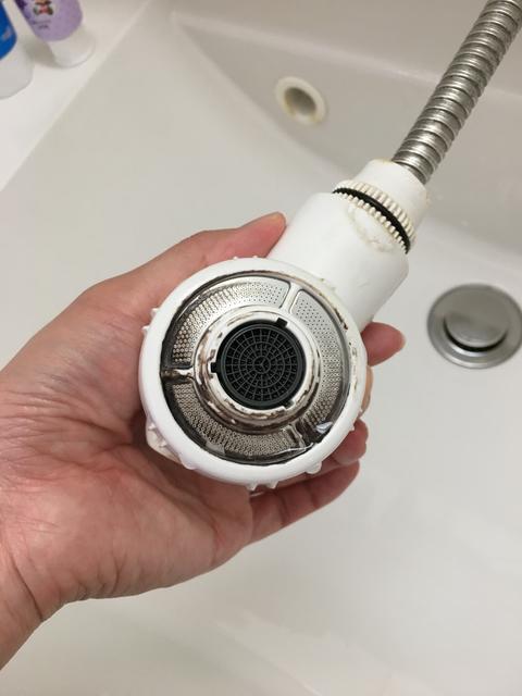 シャワーヘッドのオキシ漬け(掃除後)