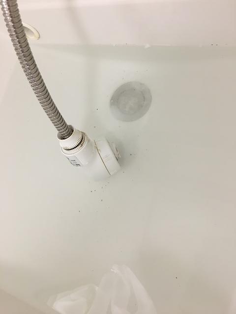 シャワーヘッドのオキシ漬け(汚れが浮く)