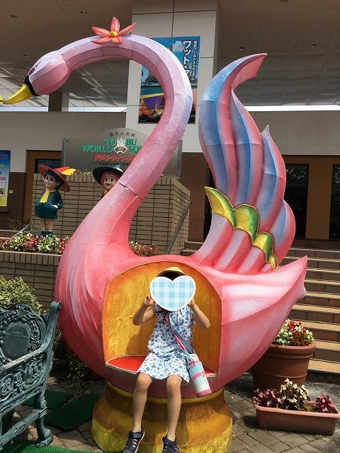 東武ワールドスクウェアハクチョウのオブジェでの撮影