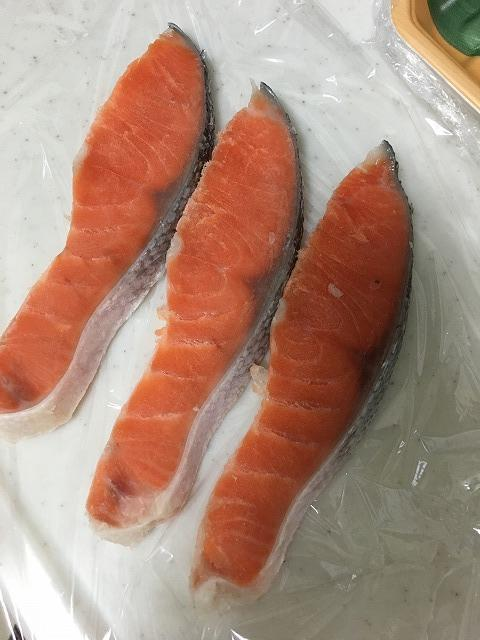 鮭の小分け