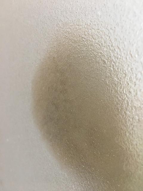 浴室ドアのガラス掃除中の様子
