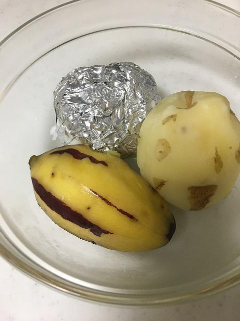 さつまいもとジャガイモを蒸した後