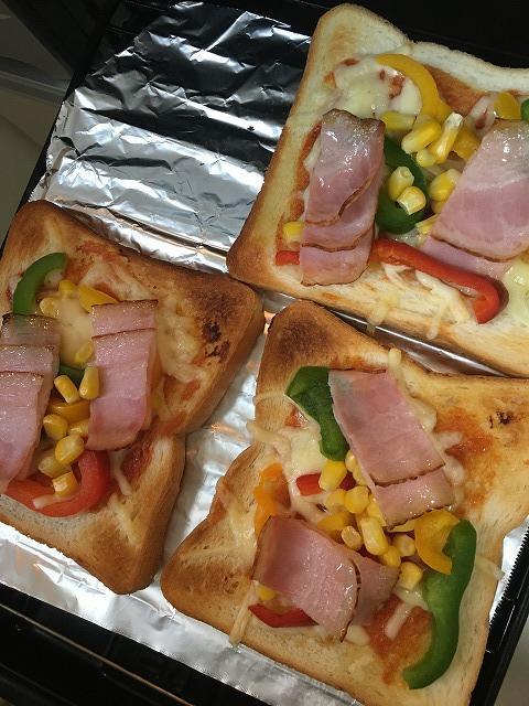 業務スーパーの冷凍パプリカでピザトースト2