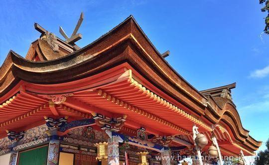 錦織神社の本殿横から