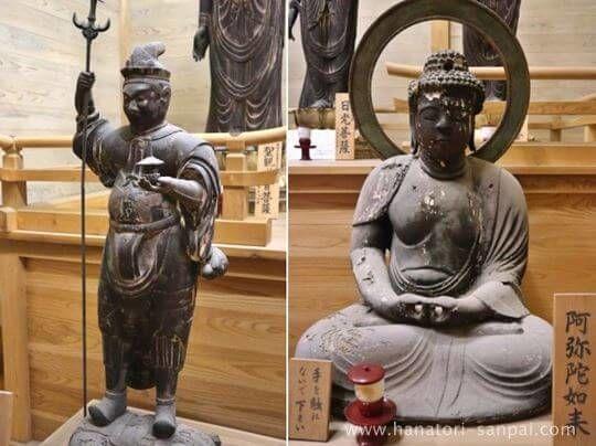 佛谷寺の阿弥陀如来と毘沙門天