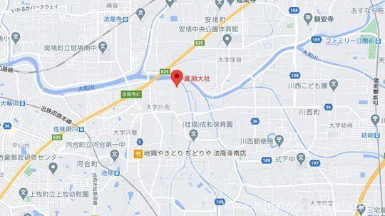 廣瀬大社のある場所の地図
