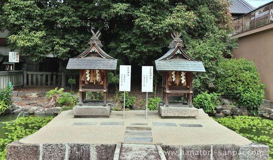 津島神社境内にある厳島神社と金毘羅神社