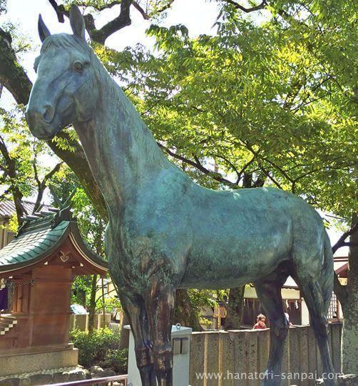 石切劔箭神社の馬の 銅像