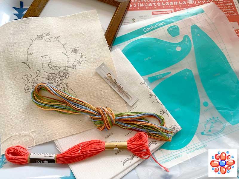 フェリシモの刺繍キット「はじめてさんのきほんのき」で練習開始