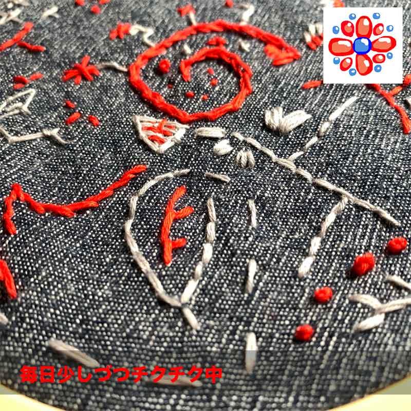 赤とグレーの刺し子糸で図案なしの刺繍