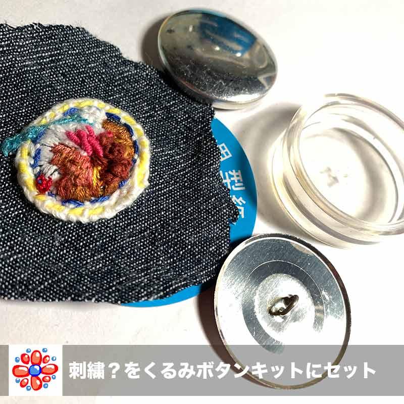 カレーの刺繍と「くるみボタン製作キット」