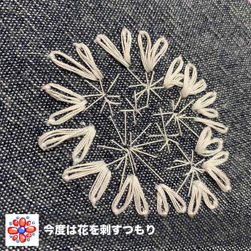 オルレアの花の刺繍開始