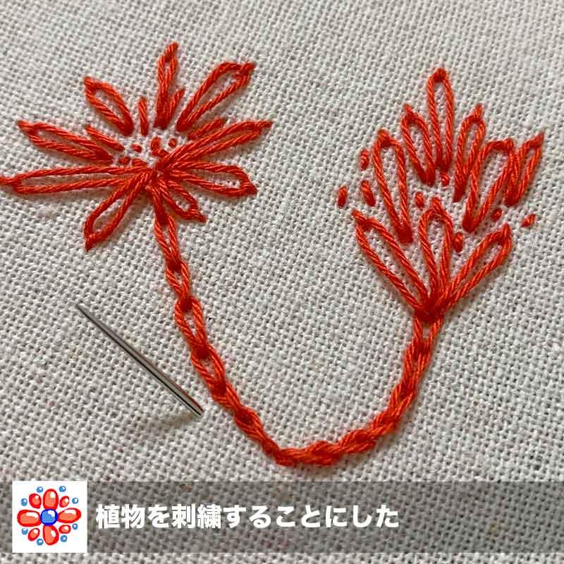赤い刺し子糸で花の刺繍