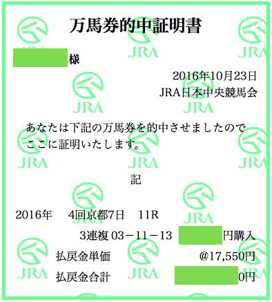 2016_菊花賞_3連複_万馬券証明書