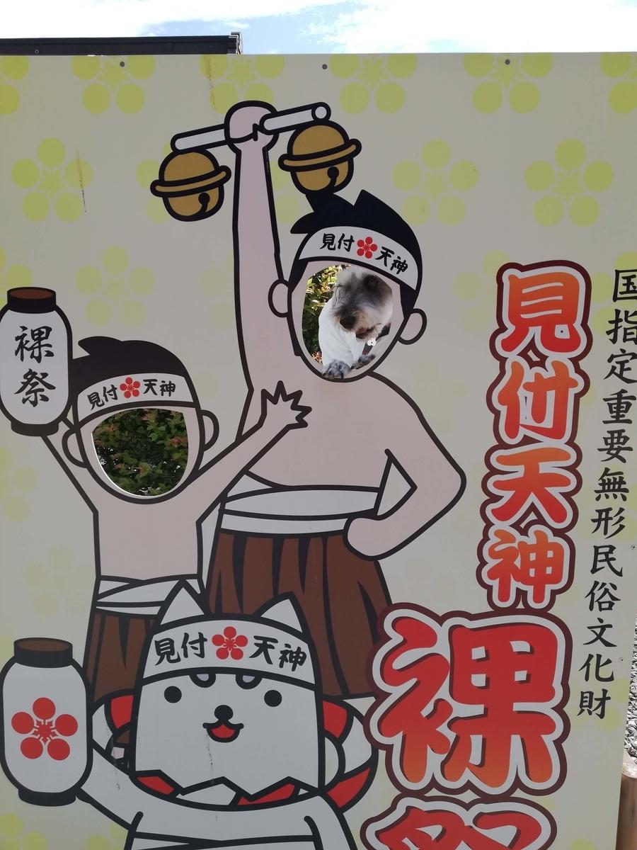静岡県内でペットと遊ぶ:矢奈比賣神社 顔ハメ看板 しっぺい