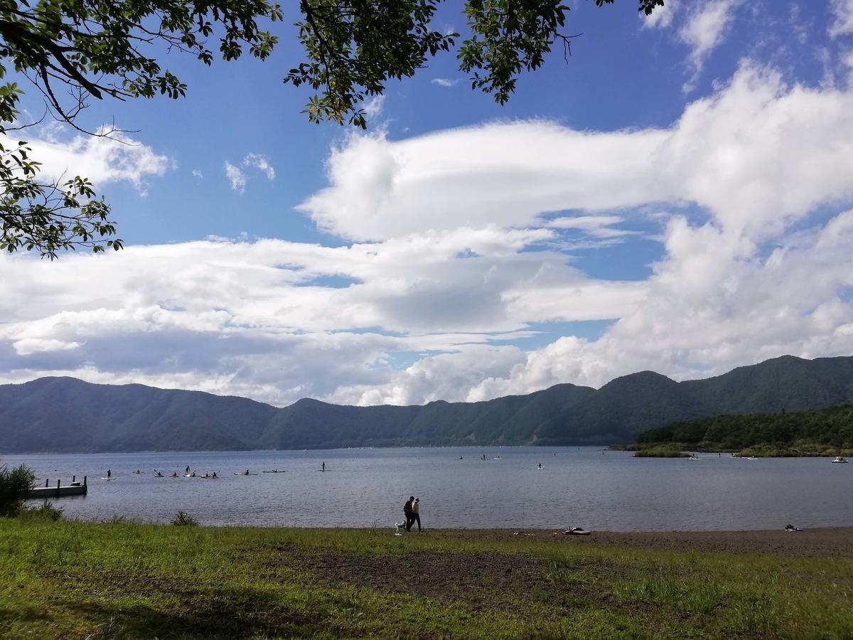 山梨県内でペットと遊ぶ:富士河口湖町 本栖湖 対岸がゆるキャン△の舞台