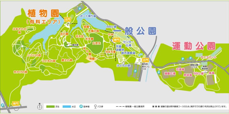愛知県内でペットとお出かけ:愛知県森林公園マップ