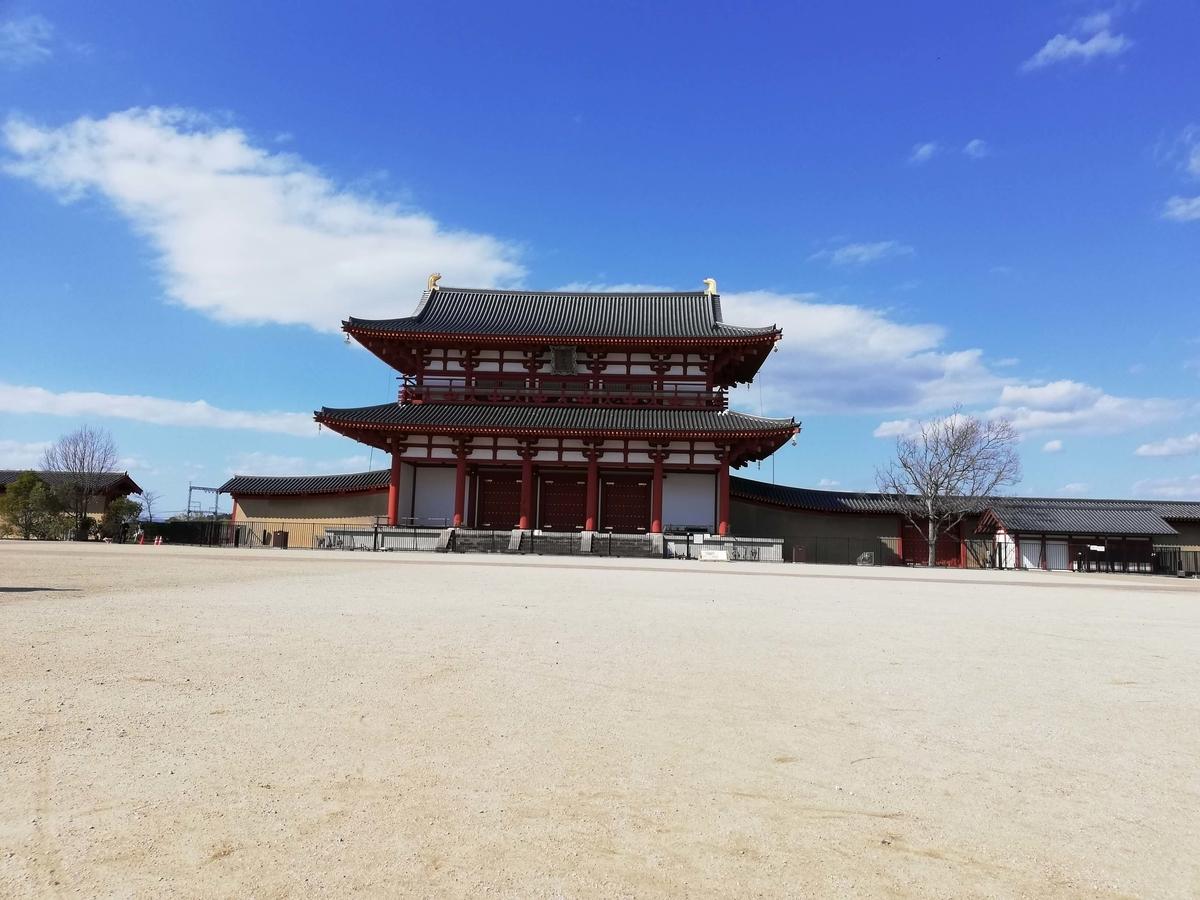 奈良県内でペットとお出かけ:平城京跡 朱雀門 閉門