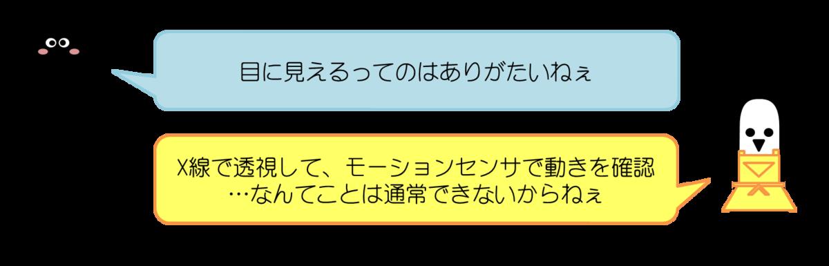 あっしーコメント:目に見えるってのはありがたいねぇ はにわママコメント:X線で透視してモーションセンサで動きを確認…なんてことは通常できないもんね