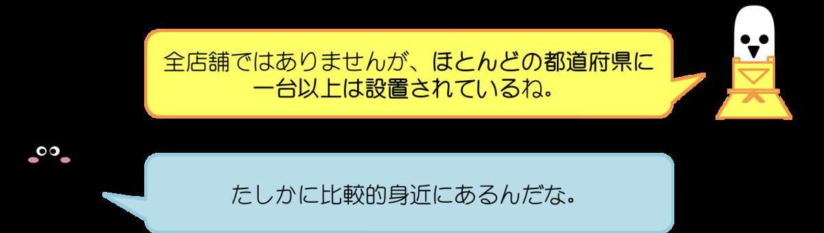 はにわママコメント:全店舗ではありませんが、ほとんどの都道府県に一台以上は設置されているね。  あっしーコメント:たしかに比較的身近にあるんだな。