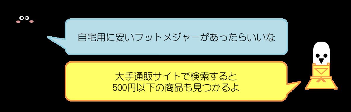 あっしーコメント:自宅用に安いフットメジャーがあったらいいな  はにわママコメント:大手通販サイトで検索すると500円以下の商品も見つかるよ