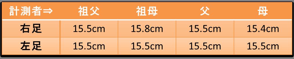 足長の計測結果
