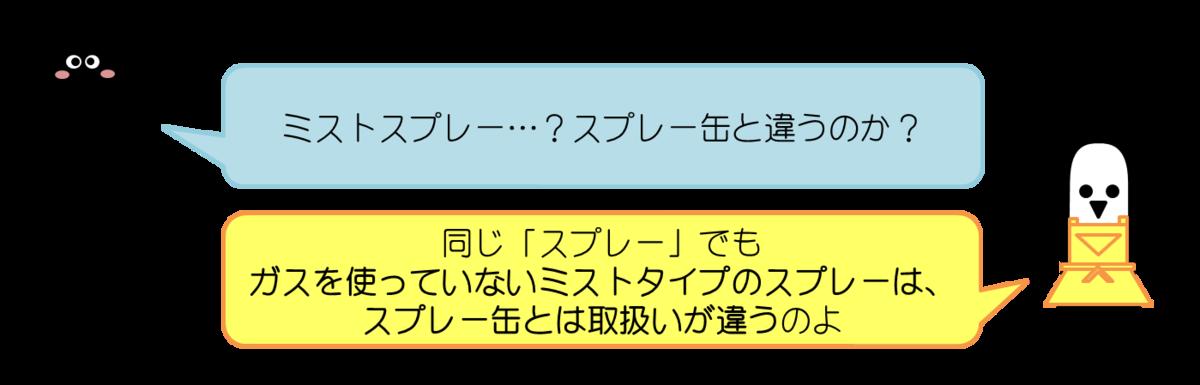 あっしーコメント:ミストスプレー…?スプレー缶と違うのか?  はにわママコメント:同じ「スプレー」でもガスを使っていないミストタイプのスプレーは、スプレー缶とは取扱いが違うのよ
