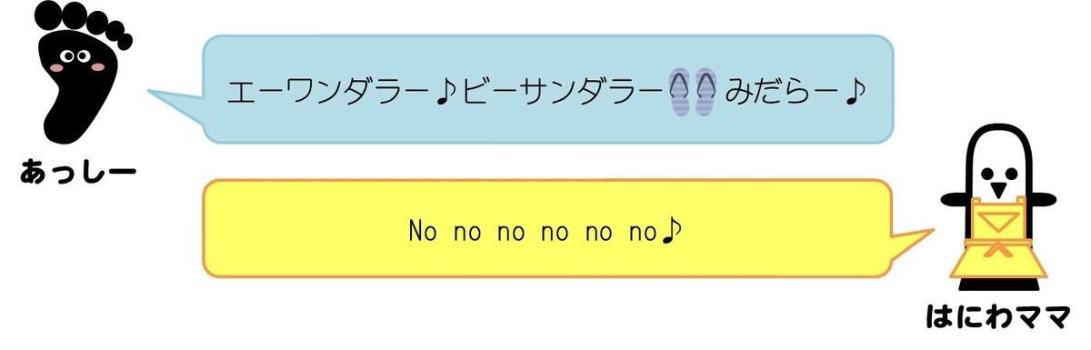あっしーコメント:エーワンダラー♪ビーサンダラーみだらー  はにわママコメント:No no no no no no♪