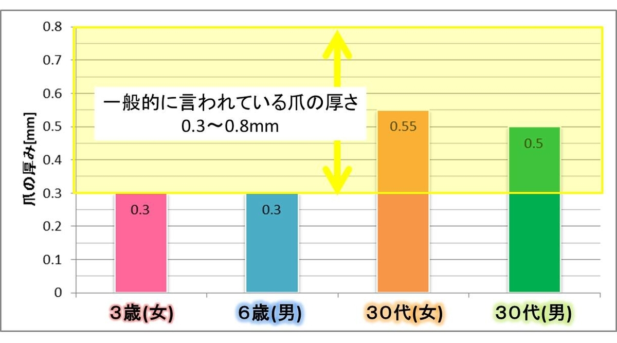 足の爪の厚みの平均値測定結果