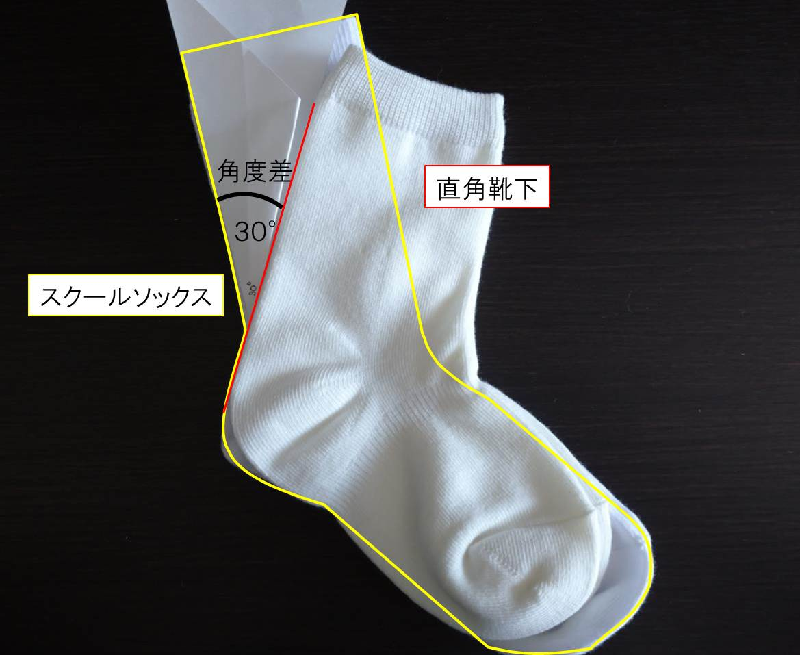 ずり落ちない直角靴下とスクールソックスの比較