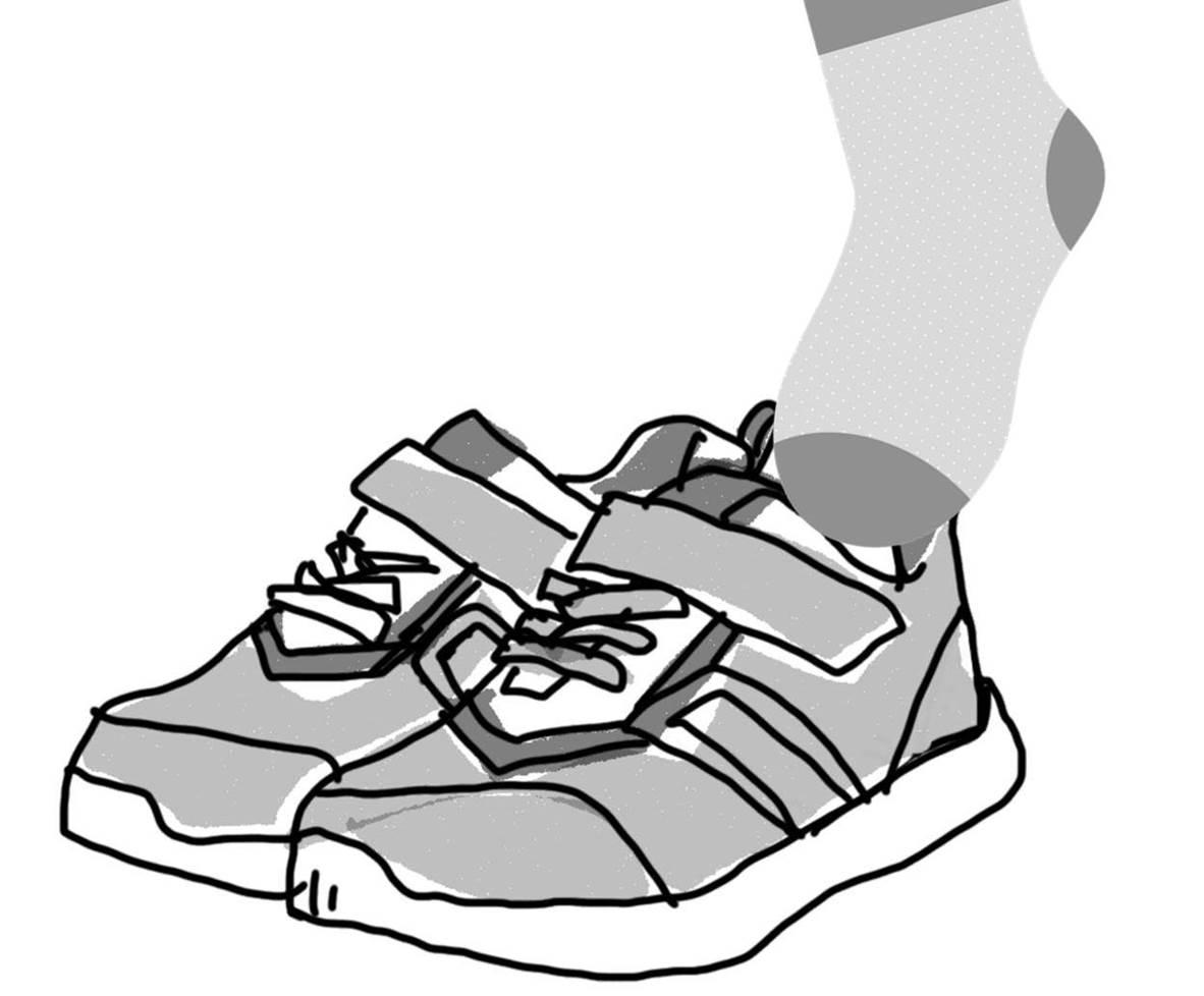 マジックベルトを外さずに子供靴を履くイメージ図
