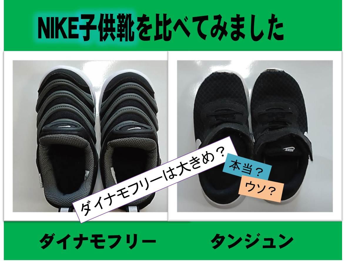 NIKE子供靴ダイナモフリーとタンジュンの比較記事タイトルイメージ図