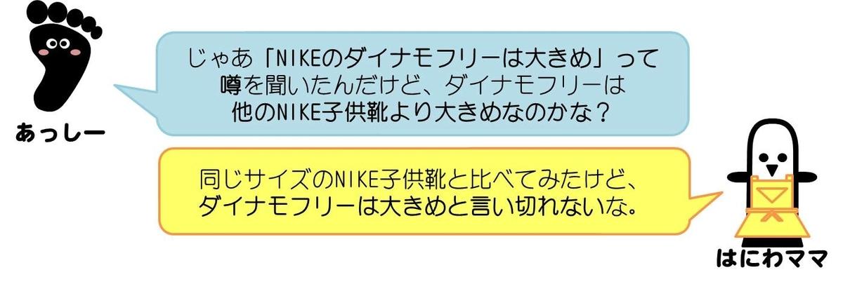あっしーコメント:じゃあ「NIKEのダイナモフリーは大きめに出来てる」って噂を聞いたんだけど、ダイナモフリーは他のNIKE子供靴より大きめなのかな?  はにわママ:同じサイズのNIKE子供靴と比べてみたら、ダイナモフリーは大きめとは言い切れないな。