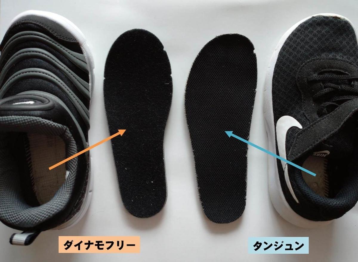 NIKE子供靴16cmのダイナモフリーとタンジュンのインソールを取り出した写真