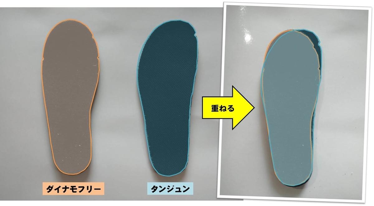 NIKEの16cm子供靴ダイナモフリーとタンジュンのインソールを重ねた写真