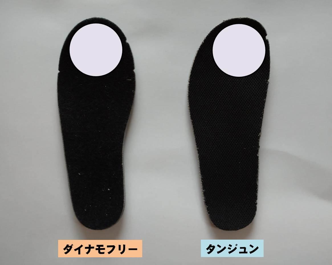 NIKEの16cm子供靴ダイナモフリーとタンジュンのインソール違い