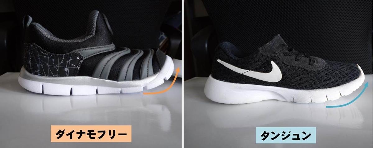 NIKEの16cm子供靴ダイナモフリーとタンジュンのつま先巻き上げ比較写真
