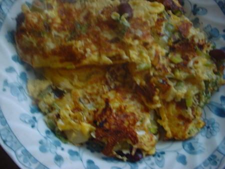 3色豆のオムレツ
