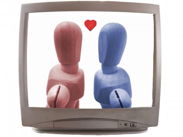 テレビに映る恋愛映画