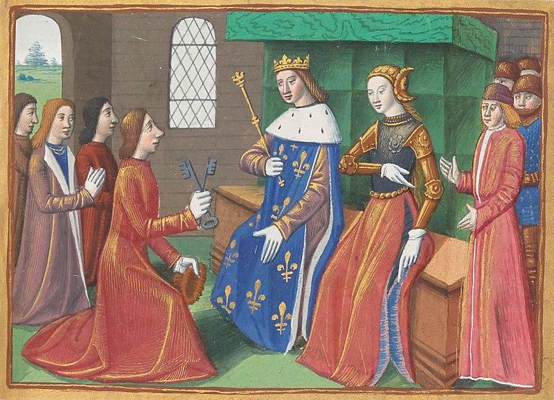 『シャルル7世年代記』のミニアチュール。トロワ市民が城門の鍵をシャルル7世とジャンヌに渡す場面が描かれている。