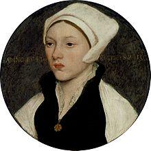 ホルバインによる、白いコイフを着けた娘の絵