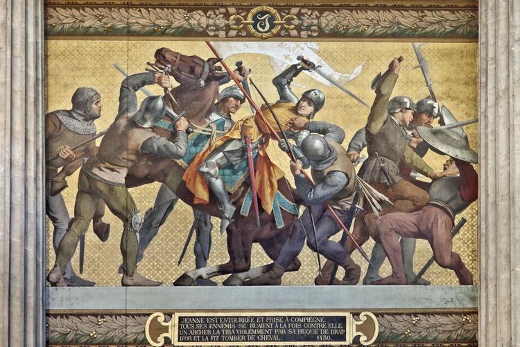 コンピエーニュでブルゴーニュ公国軍に捕らえられるジャンヌ。パリのパンテオンの壁画。