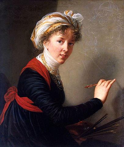 1800年 ヴィジェ=ルブラン自画像 頭に白い布 エルミタージュ美術館蔵